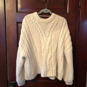 Aerie Cream Cableknit Sweater